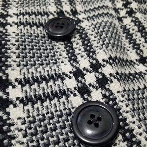 Express plaid white & black wool skirt